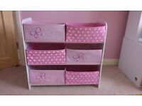 Beautiful storage box shelf unit in pink with white MDF frame