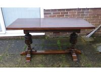 VINTAGE REFECTORY DINING TABLE SEATS 6 DARK OAK JACOBEAN STYLE