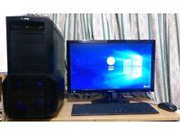 "Custom Built PC With 24"" HD LED Screen - Windows 10, i5, 3.40GHz, 8 GB RAM, 1TB HDD, USB 3.0"