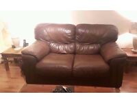 Genuine Soft Brown Leather 2 Seater Sofa