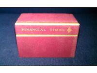 2 Packs Of Vintage 'De La Rue: Financial Times' Playing Cards in Felt Box (1971)