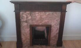 Fireplace with Hearth, Marble, and Wooden Surround