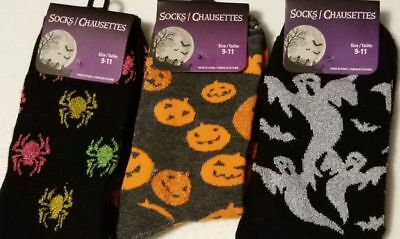 Halloween SOCKS Womens Shoe *4-10* Spiders Bats Pumpkins Ghost