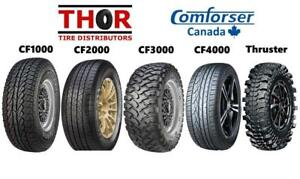 BUY MUD TIRES AND ALL TERRAIN TIRES DIRECT FROM THE IMPORTER - COMFORSER & GINELL - SNOWFLAKE RATED/10 PLY & WARRANTIED