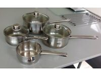 4 Saucepan set/Captain Cook stainless steel 3 piece pan/saucepan set with glass lids + milk saucepan