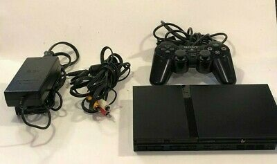 Sony PlayStation 2 PS2 Black Complete Console Thin Mini System Bundle