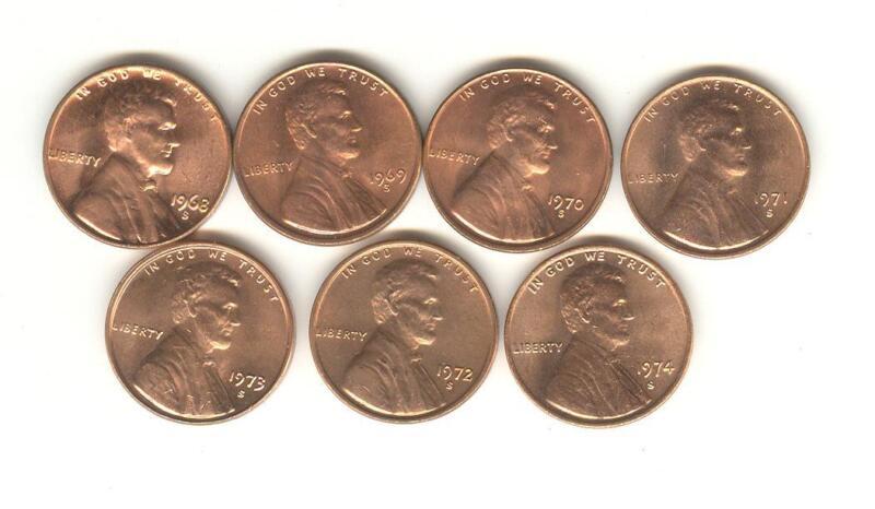 1968-S 1969-S 1970-S 1971-S 1972-S 1973-S 1974-S BU LINCOLN CENT SET plus bonus