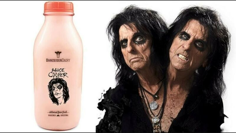 2020 Alice Cooper Phoenix Arizona EMPTY Quart Milk Glass Bottle Limited Edition!
