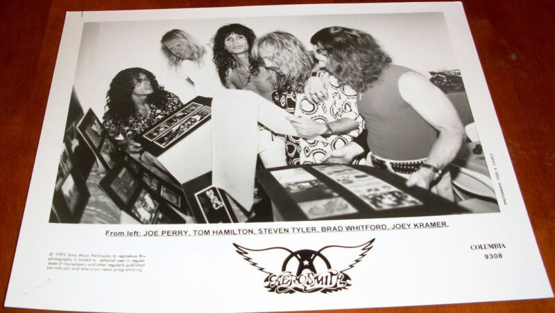 Aerosmith 8x10 B&W Press Photo Columbia Records 1993 Steven Tyler Joe Perry