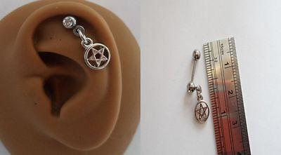 Surgical Steel Helix Tragus Cartilage Barbell Stud Ring Pentagram 18 gauge 18g ()