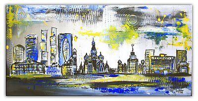 Moskau Skyline Original Gemälde Acrylbild Malerei Modern Art 50x100