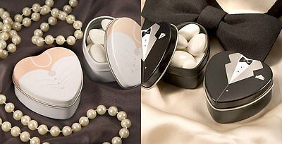 Dressed To The Nines Heart Shaped Bride Or Groom Mint Tins Wedding Favors ()
