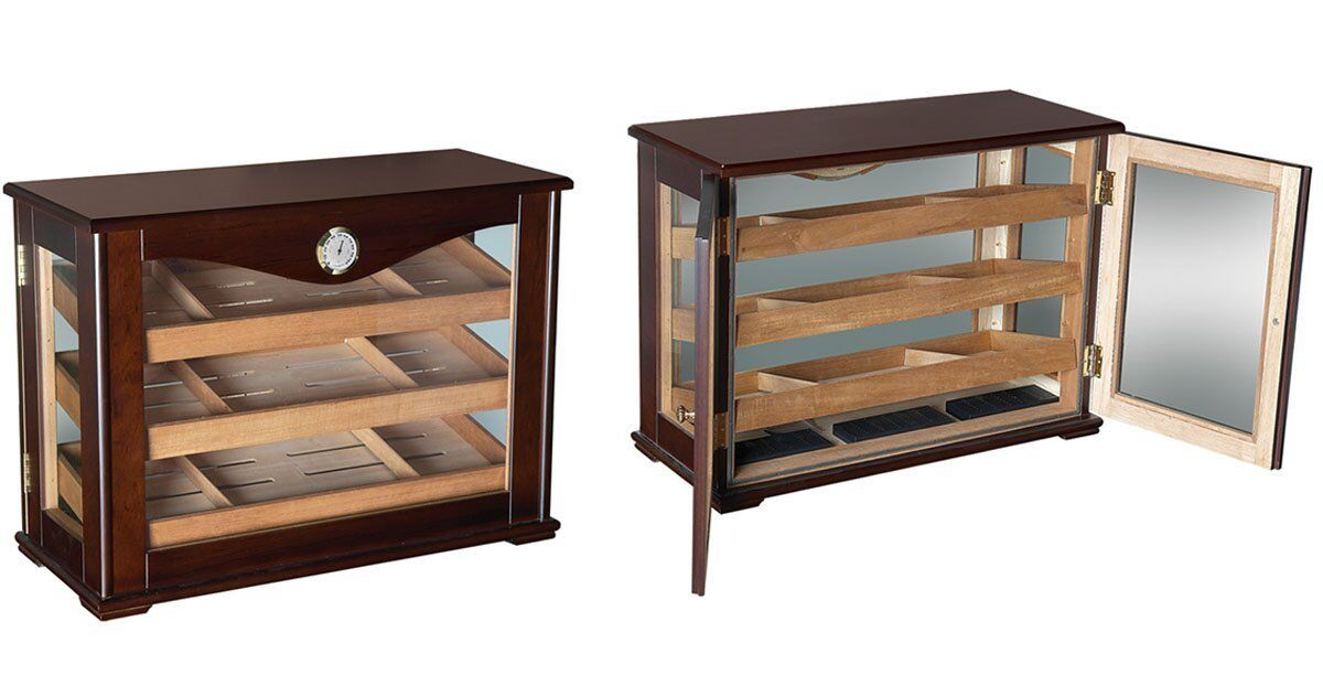 Photo Large Wood Glass Humidor Box Cabinet - Cigar Humidifier Vintage Antique Look 100