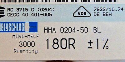 1000pcs Resistor Smd 180 Ohm Minimelf 50ppm 1 0.4w Mma020450bl 180r Beyschlag