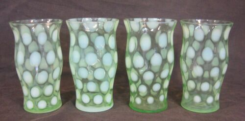 """Set of 4 Northwood Green Opalescent Coin Spot 8oz Tumblers Mint 5.25"""" Tall"""