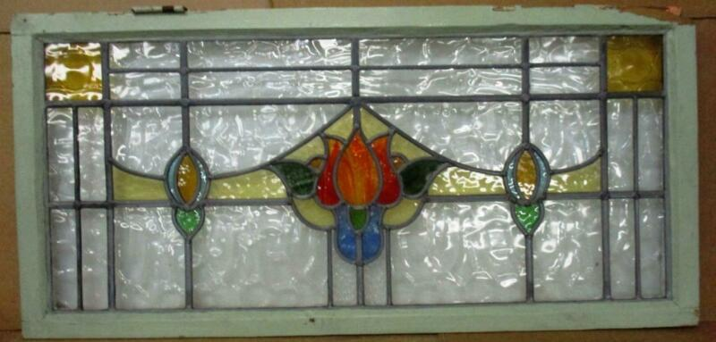 OLD ENGLISH LEADED STAINED GLASS WINDOW Gorgeous Floral Transom 40.25