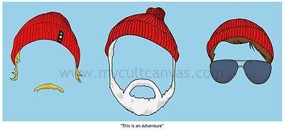 The Life Aquatic Art Print Poster Zissou Adidas Beanie  Wes Anderson Dvd Blu Ray