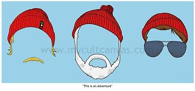 The Life Aquatic Art Print Poster Zissou Adidas Beanie  Wes Anderson Dvd Blu Ray