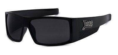 Men/'s Locs Black Hardcore Sunglasses Rectangle Shades Black Smoked Lenses 91067
