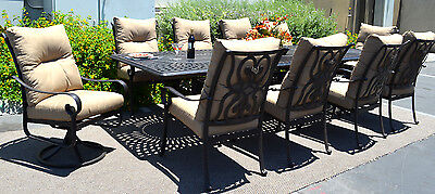 11 piece aluminum outdoor dining set patio chairs table Santa Anita bronze