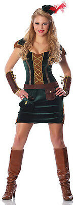 LADY SHERWOOD ARCHER Ren Costume Dress w/ Hat Adult Large XL 10 12 14 Robin (Robin Hood Kostüme Hat)