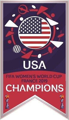 2019 FIFA WOMEN'S WORLD CUP USA CHAMPIONS BANNER SOCCER PIN RAPINOE MORGAN DUNN