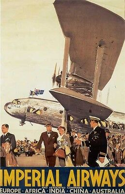 Vintage Imperial Air  Service To 4 Continents   Poster