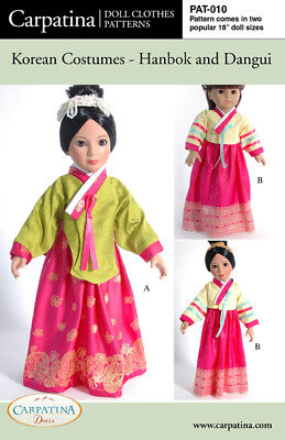"Korean Doll Clothes Sewing Pattern Multi-sized for 18"" American Girl & Carpatina"