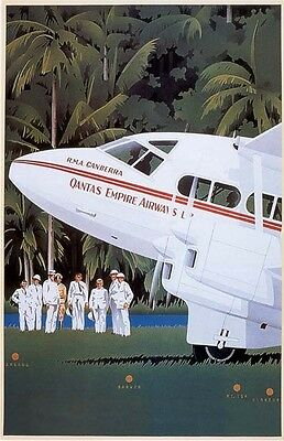 Vintage Qantas Empire Airways  Travel Poster