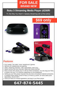 Roku 3 Streaming Media Player (4230R) - $69 only