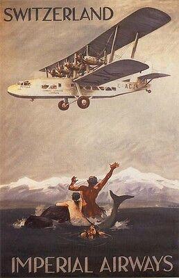 """Vintage Imperial Airways """"Switzerland"""" Travel Poster"""