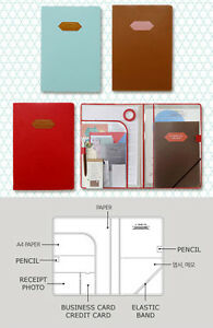 A-POCKET-Faux-Leather-File-Folder-Organizer-FREE-NOTE-Document-Business-Card