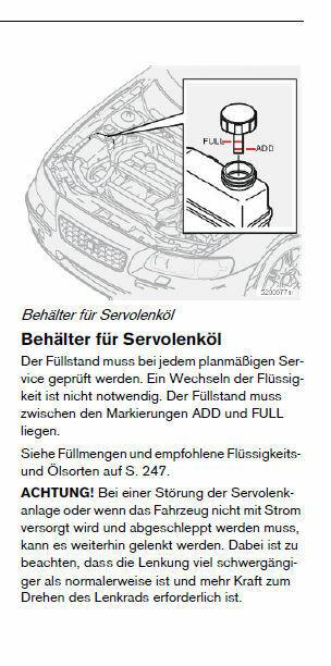 Füllstand Servoöl V70 II