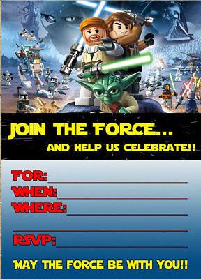 Lego Star Wars Party Invitations x 10 c/w Envelopes
