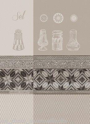 GARNIER THIEBAUT, SEL BLANC (SALT) JACQUARD FRENCH KITCHEN / TEA TOWEL, - Blanc Salt