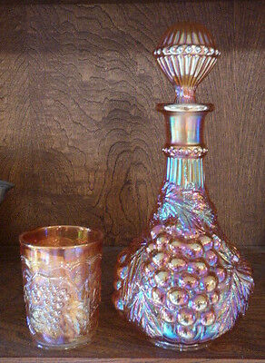 Imperial Carnival Glass Vintage Grape Decanter & Tumbler Marigold