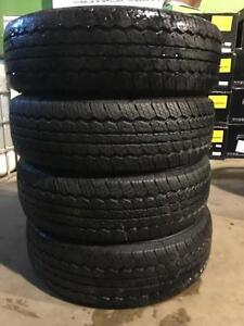 4 quality used P 215/75/15 Triangle Radial A/T all season tires INSTALLED and BALANCED for $349