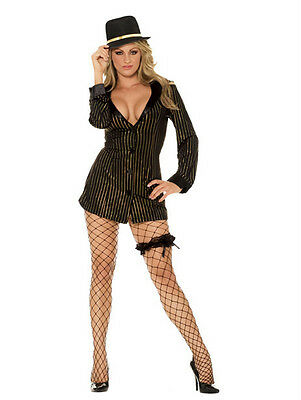 Gold Digger Costume (Elegant Moments Women's Sexy Gold Digger Gangster Girl Adult Costume Small)