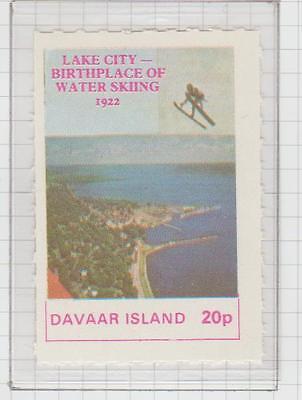 Davaar Island Lake City .Water Skiing Perf. Stamp UM 1972