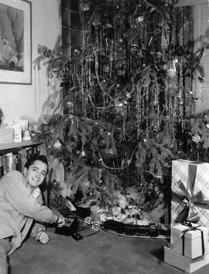 American Actor John Derek Plays With A Train Set Under The Christmas OLD PHOTO