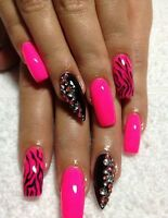 POSE D'ONGLES ACRYLIC,GEL,RESINE,SHELLAC,PEDICURE ECT