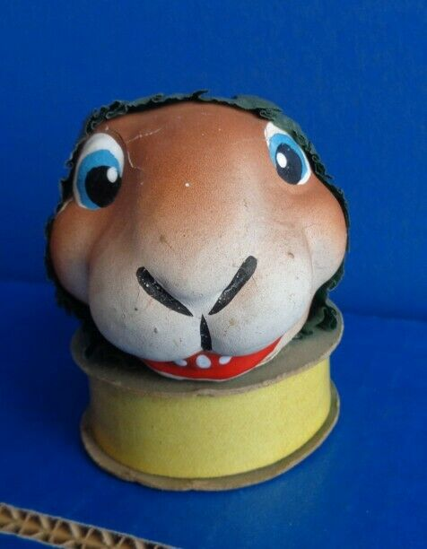 1930s VINTAGE BUNNY RABBIT HEAD GERMAN CANDY CONTAINER- PAPER MACHE
