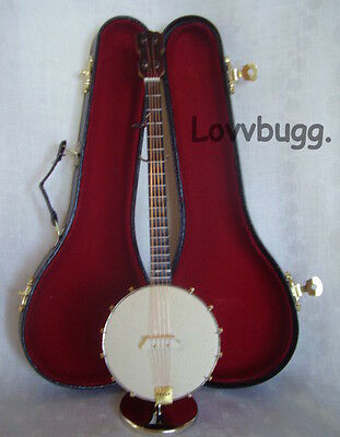 Banjo Mini with Case and Stand Perfect for American Girl Doll Music Instrument Accessory BJD