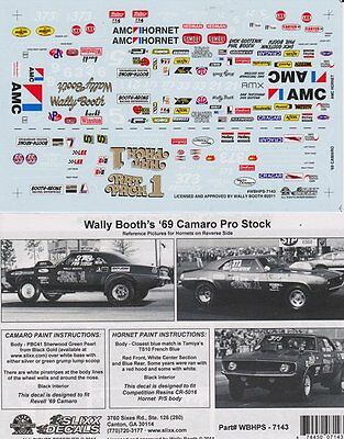 Wally Booth's 70's Hornet & '69 Camaro Pro Stocks Drag NHRA Slixx Decal #7143