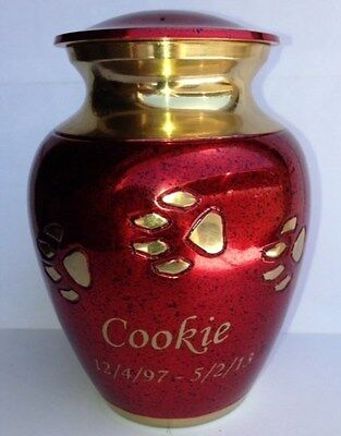 GORGEOUS RED & GOLD BRASS PAW PRINT PET CREMATION URN, 4