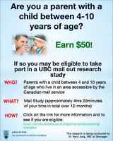 Looking for Parent Participants! UBC Canadian Health Study! $50!