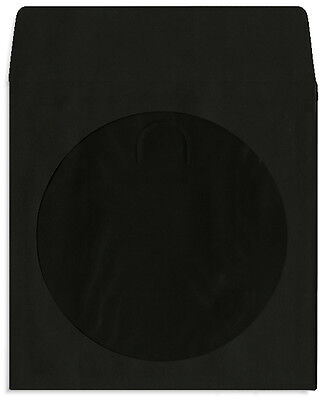 1000-pak Black Colored Paper Cddvd Sleeves With Window Flap