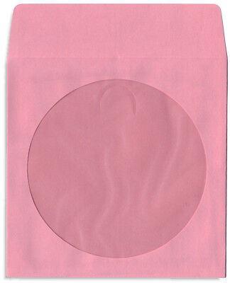 200-pak Pink Colored Paper Cddvd Sleeves With Window Flap
