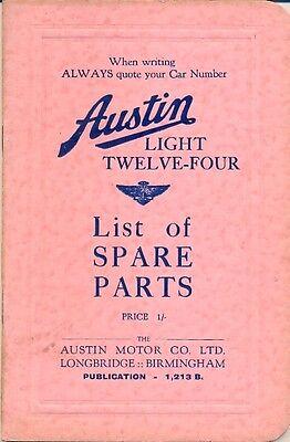 Austin Four Light - Austin Light Twelve-Four original Parts List 1935 ref.1213B