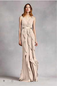 White by Vera Wang- V Neck Wrapped Bodice Dress with Satin Belt